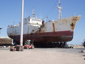 """VOLGA"" being moved to compacted earth hardstanding area"