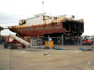 Shipbreaking in progress